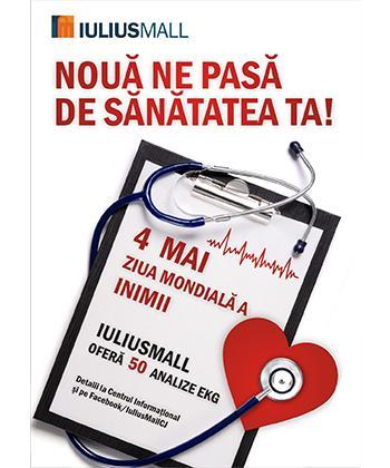Iulius Mall oferă 50 de analize gratuite de EKG cu ocazia Zilei Mondiale a Inimii, marcată pe 4 mai